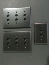 Oil Rubbed Bronze Designer Modern Push Button Switch Plate Covers - Set Of 3 New