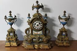 Three Piece French Sevres Porcelain And Gilt Bronze 19th Century Clock Set
