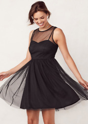 LC Lauren Conrad Women's Black Flocked Tulle Fit & Flare Dress Size 12