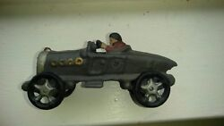 Cast Iron Toy Boat Tail Race Car With Driver