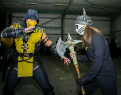 Mortal Kombat Scorpion Costume With Boots,mask And Weapons