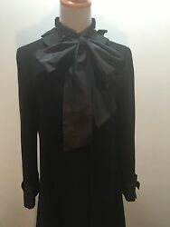 Moschino Black Wool Dressy Evening Coat With Taffeta Bow And Beads