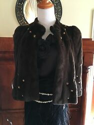 Moschino Brown Sheared Mink Fur Jacket Coat With Bronze Embellished Studs 8000