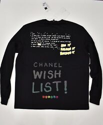 Chanel X Pharrell Capsule Collection Black Long Sleeve Graffiti Tee Shirt RARE M