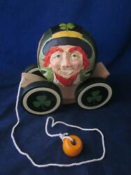 Briere Folk Art Pull Toy 1993 Leprechaun 4 Leaf Clover Ball And Cart / Cradle 320