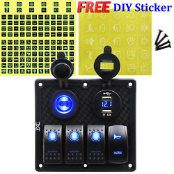 Fxc 4 Gang 12-24v For Car Rv Marine Boat Waterproof Toggle Switch Panel Blue Led