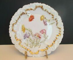 Dresden Antique 9 1/4 White Plate With Floral Pattern, Germany