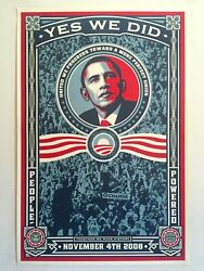 Rare Shepard Fairey Yes We Did 2008 Obama Election Original Litho Print Poster