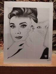 Drawing Of Audrey Hepburn And Cat Limited Print 59/200 Signed Steve Keiper