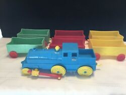 Lot Of 7 Vintage Plastic Red Yellow Blue Green Toy Train Cars West Germany T49