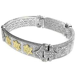 Gerochristo 6272 Solid Gold And Silver Star Of David Engraved Bracelet