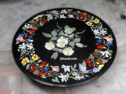 36 Black Marble Round Dining Table Top Pietra Dura Floral Inlay Home Decor Gift