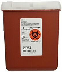Portable Sharps Container For Disposal Of Blood Hypodermic Iv Needles 2.2 Quart