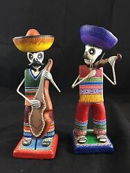 Mexico Alfonso Castillo Folk Art Pottery Vintage New Signed Day Of The Dead 2