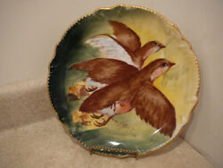 S25 Vintage Limoges Porcelain China Plate Charger Quail Game Birds Signed Ourcq
