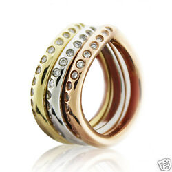 .30 Ct Tri Color Stackable Diamond Wedding Band 14k Solid Gold Item Cfr-1007ywr