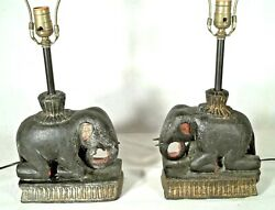 Pair Carved+painted Wood Elephant Lamps-early 20th Century