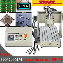 4 Axis USB 3020 CNC Router Engraver Engraving Drilling Milling 800W VFD Spindle