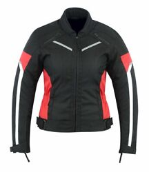 Womens Motorcycle Armored Protection Waterproof Jacket Black/red Armor Cj-1834r