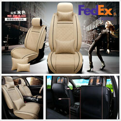 Luxury PU Leather 5-Seat 2Pcs Front Car Seat Covers Cushion Size M With Pillows