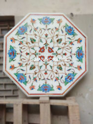 29 Marble Elegant Side Table Top Rare Semi Precious Turquoise Inlay Work