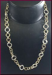 And Co. Sterling Silver 18k Yellow Gold Circle Link Necklace