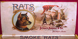 c1890 - Rats Cigar Box - Rat Terrier DOG - FANTASTIC Amazing Label -  SO RARE