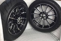 Harley 2009 -18 Cvo Touring Front Chrome/black Roulette Wheels Rims And Tire