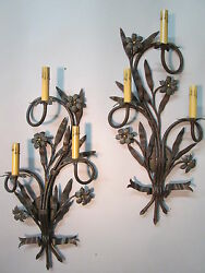 Vintage Antique Large Pair Hand Wrought Iron Wall Sconces 28 By 12