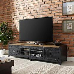 Industrial Style Tv Stand With Storage And Shelves For Tv's Up To 60 In Black