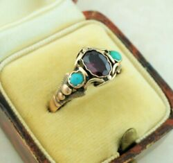 Antique Late Georgian Gold Ring Set With Garnet And Turquoise