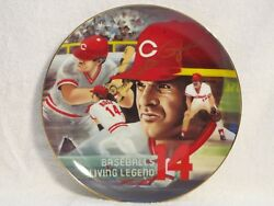 Armstrongs Art On Porcelain 1985 Autographed Edition Baseball Plate Pete Rose