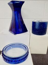 Be-nimble 3 Contemporary Heavy Cobalt Blue Glass Pillar And Votive Candle Holders