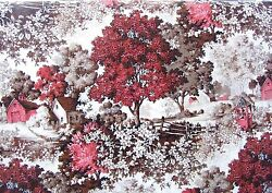 1930s Scenic Wooded Country Americana Vtg Barkcloth 2 Panels Sold In One Set