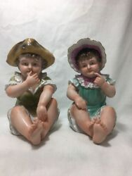 Pair Of Ardalt Porcelain Piano Baby Figurines Boy And Girl Sitting - Japan 6068b