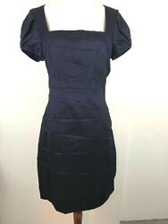 Badgley Mischka Collection Cocktail Dress 10 Navy Blue Shimmer Puff Sleeve