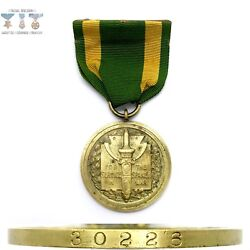 30226 Army Spanish Service Medal Wrap Brooch Numbered 1938 Northern Stamping