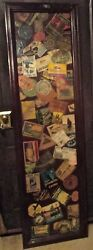 Three Framed Collage Panels Of Old Luggage Labels. Room Dividers. Wall Panels.