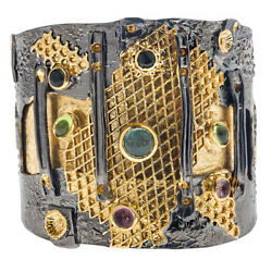 Polemis 501 Black Rhodium And Gold Plated Silver Large Cuff Bracelet With Stones