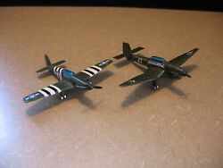 Lot Of 2 Vintage Green Metal Toy Army Airplanes 4 Long Y45