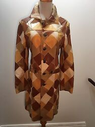 Chrome Hearts Yellow Brown Leather Retro Patchwork Jacket Coat