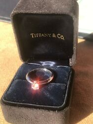 Impeccable And Co Platinum 950 Certified .41ct Diamond Ring Sz 5 1/4 Rare