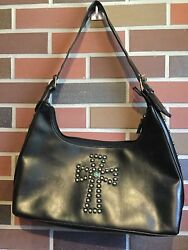 Black Faux Leather Bronze Studded Cross Hobo Bag Purse 15.5quot; in Length $18.99