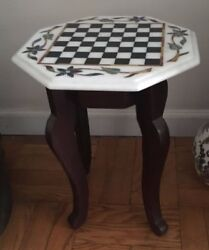 Hand Made Marble Inlay Chess Table Top With Wooden Base And Marble Chess Set