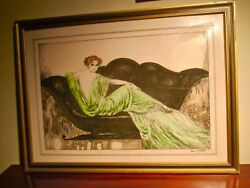 Framed 1937 Louis Icart Art Deco Carved Celluloid Portrait Of Beautiful Woman.