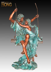 Art Deco Sculpture Woman and Man Couple In Love Swing Bronze Statue