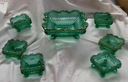 EAPG Northwood Glass 7 Piece Berry Set Emerald Green Decorated Alaska Lions Leg