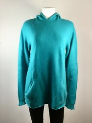 LAINEY Made In Ireland Turquoise Hooded Long Sleeve Cashmere Sweater Size Small