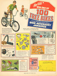 1960 Vintage Ad Western Auto Western Flyer Bicycles 100 Free Bikes Offer 072216