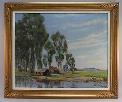Amazing Paul Weindorf 1887-1965 Early Ca Impressionist Oil Landscape Painting